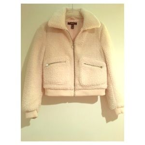 Cute Pink Fluffy Bomber Jacket